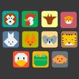 Insieme semplice dell'icona dei fronti svegli degli animali Fotografia Stock Libera da Diritti