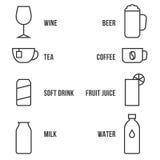 Insieme semplice dell'icona del profilo della bevanda Immagini Stock
