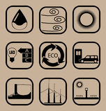 Insieme semplice dell'icona di ecologia Fotografia Stock