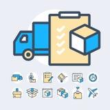 Insieme semplice della linea relativa icone di vettore di colore di consegna Fotografia Stock
