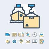 Insieme semplice della linea relativa icone di vettore di colore di consegna Fotografie Stock