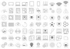 Insieme semplice della linea relativa icone di vettore delle componenti di computer royalty illustrazione gratis