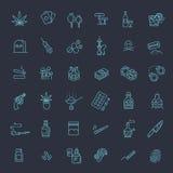 Insieme semplice della linea relativa icone di vettore delle droghe illustrazione vettoriale