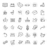 Insieme semplice della linea relativa icone di vettore di sonno illustrazione di stock