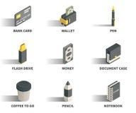 Insieme semplice delle icone isometriche 3D Fotografia Stock Libera da Diritti