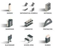 Insieme semplice delle icone isometriche 3D Fotografie Stock Libere da Diritti