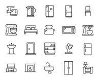 Insieme semplice delle icone relative del profilo della mobilia Fotografia Stock
