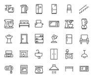 Insieme semplice delle icone relative del profilo della mobilia Fotografie Stock