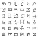 Insieme semplice delle icone relative del profilo della mobilia Fotografia Stock Libera da Diritti