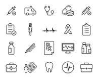 Insieme semplice delle icone relative del profilo di assistenza medica Immagine Stock Libera da Diritti