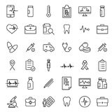Insieme semplice delle icone relative del profilo di assistenza medica Immagine Stock