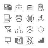 Insieme semplice delle icone relative del profilo di strategia Immagine Stock Libera da Diritti