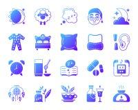 Insieme semplice di vettore delle icone di pendenza di insonnia royalty illustrazione gratis