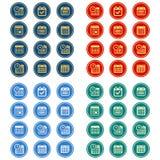 Insieme semplice, rettilineo, circolare dell'icona del calendario 12 icone, 4 variazioni di progettazione di colore royalty illustrazione gratis