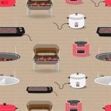 Insieme senza cuciture del modello dell'attrezzatura della cucina con il fornello di riso del carbone del tostapane del carro arm immagine stock libera da diritti