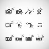Insieme senza fili dell'icona della macchina fotografica, vettore eps10 Immagini Stock