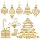 Insieme simboli di monocromio di celebrazione del nuovo anno e di Natale Fotografia Stock