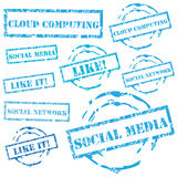 Insieme sociale del bollo di media Fotografie Stock