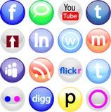 Insieme sociale dell'icona di media di Glassball fotografie stock libere da diritti