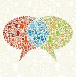 Insieme sociale dell'icona di media nel colloquio delle bolle Fotografia Stock