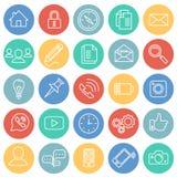 Insieme sociale di comunicazione sul fondo di colore dei cerchi illustrazione di stock
