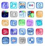 Insieme sociale disegnato a mano dell'icona di media Fotografie Stock
