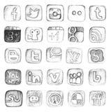 Insieme sociale disegnato a mano dell'icona di media Fotografie Stock Libere da Diritti
