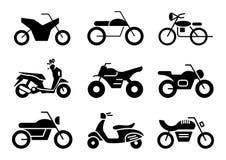 Insieme solido del motociclo delle icone illustrazione di stock