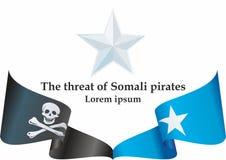 Insieme somalo della bandiera di pirati, notizie circa un altro incidente con i pirati somali Modello per progettazione di inform illustrazione vettoriale