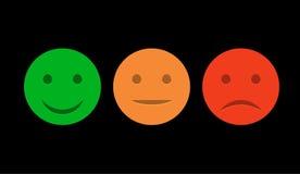 Insieme sorridente dell'icona Emoticon positivo, persona neutrale e negazione Umore rosso e verde isolato vettore Sorriso di valu Immagine Stock
