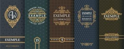 Insieme squisito dei modelli di progettazione per l'etichetta e pacchetto di whiskey Immagine Stock Libera da Diritti