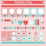 Insieme stampabile degli elementi del partito del biglietto di S. Valentino del san Insieme felice di giorno di biglietti di S. V Immagine Stock