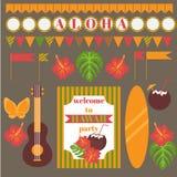 Insieme stampabile degli elementi del partito dell'Hawai Modelli, etichette, icone, bandiere ed involucri Fotografie Stock