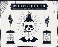 Insieme strutturato disegnato a mano di Halloween Fotografie Stock Libere da Diritti