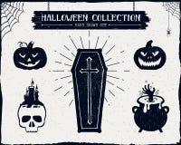 Insieme strutturato disegnato a mano di Halloween Fotografie Stock