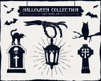 Insieme strutturato disegnato a mano di Halloween Fotografia Stock