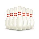 Insieme sui perni di bowling bianchi illustrazione di stock