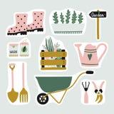 Insieme sveglio degli autoadesivi degli elementi del giardino royalty illustrazione gratis