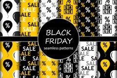 Insieme sveglio dei colori senza cuciture dei modelli di vendita di Black Friday al contrario Fotografia Stock Libera da Diritti