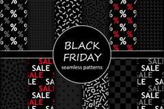 Insieme sveglio dei modelli senza cuciture di vendita di Black Friday nei colori tradizionali Fotografia Stock Libera da Diritti