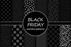 Insieme sveglio dei modelli senza cuciture di vendita di Black Friday nei colori tradizionali Immagini Stock