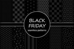 Insieme sveglio dei modelli senza cuciture di vendita di Black Friday nei colori tradizionali Fotografie Stock