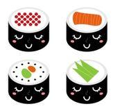 Insieme sveglio dei sushi del fumetto Fotografia Stock Libera da Diritti