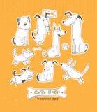 Insieme sveglio del cane del fumetto Illustrazione disegnata a mano di vettore di scarabocchio illustrazione di stock