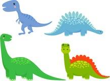 Insieme sveglio del fumetto del dinosauro Fotografie Stock Libere da Diritti