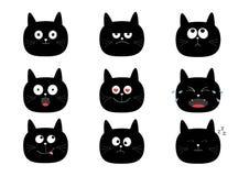 Insieme sveglio del gatto nero Personaggi dei cartoni animati divertenti Raccolta di emozione Felice, sorpreso, gridare, triste,  Fotografia Stock