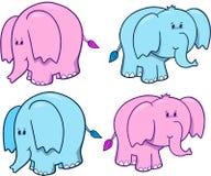 Insieme sveglio dell'elefante Immagini Stock