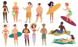 Insieme sveglio dell'illustrazione di vettore degli esseri umani della gente di attività di estate della spiaggia del mare dell'o illustrazione vettoriale