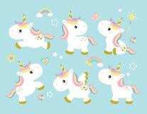 Insieme sveglio dell'unicorno Immagini Stock