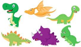 Insieme sveglio della raccolta del fumetto del dinosauro illustrazione vettoriale